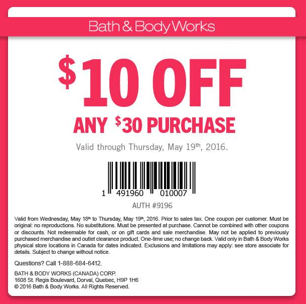 Bath and body canada coupons