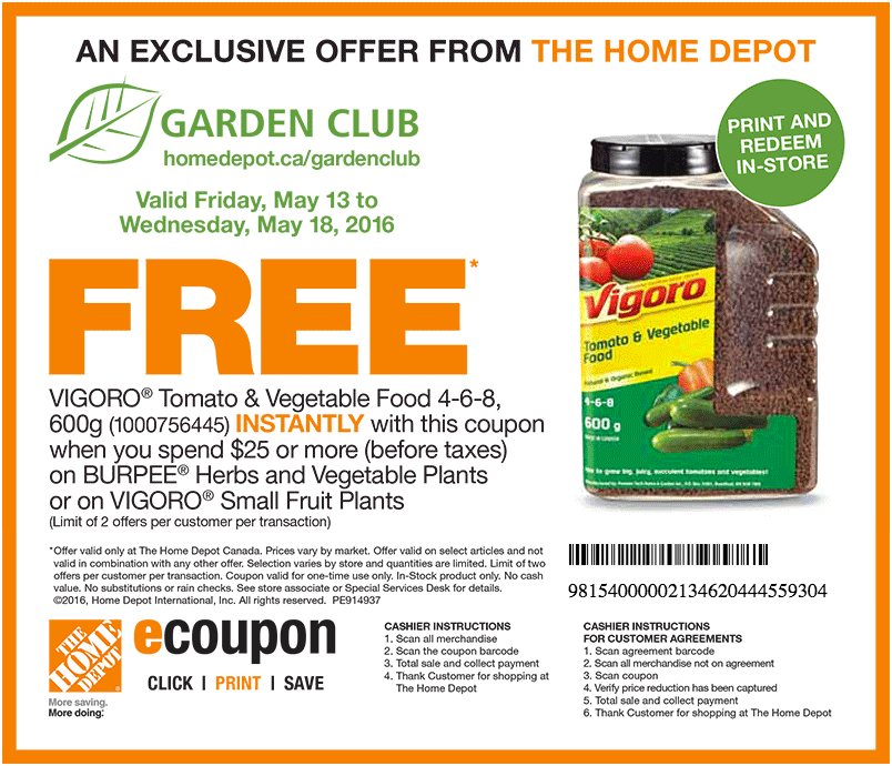 The Home Depot Garden Club Coupons Get Free Vigora Tomato