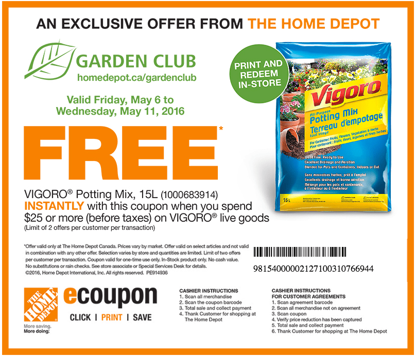 the home depot garden club coupons get free vigora potting mix 15l when you spend 25 on
