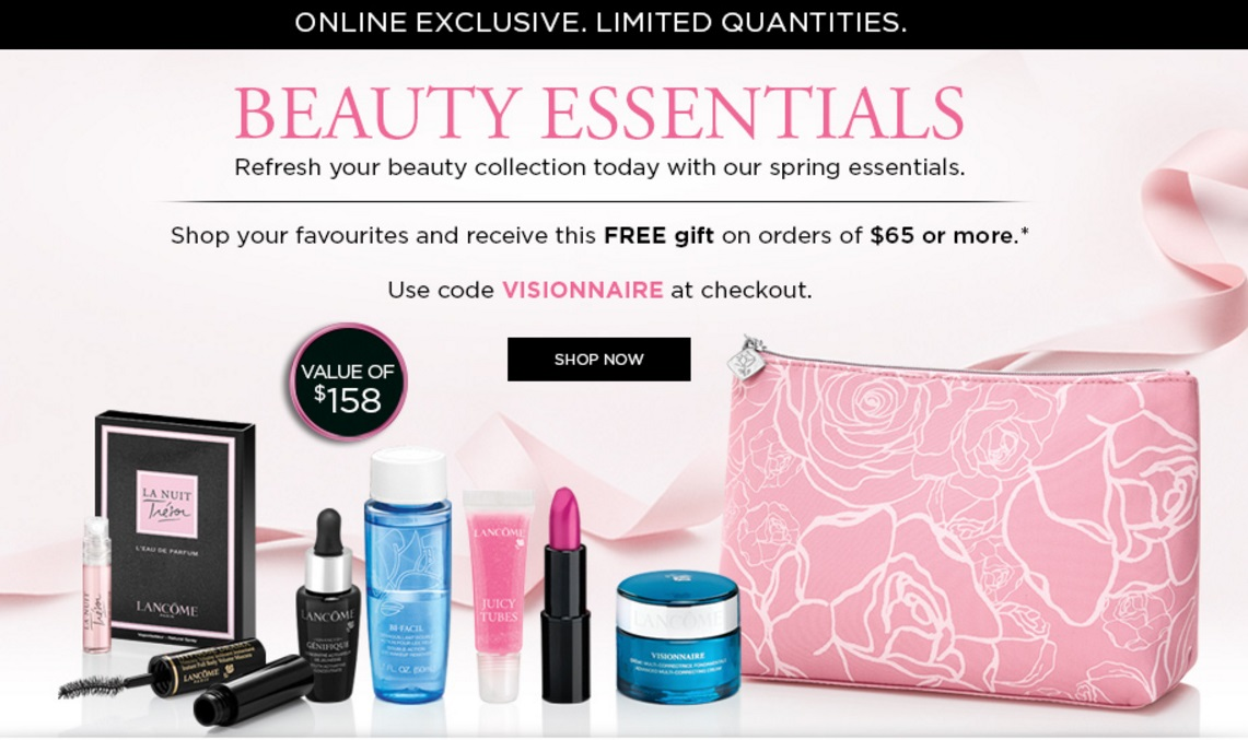 Lancôme Canada FREE 8-Piece Gift (Value $158) with Purchase of $65 ...