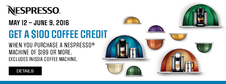 sears canada nespresso promotion get 100 coffee credit when you purchase a nespresso machine. Black Bedroom Furniture Sets. Home Design Ideas