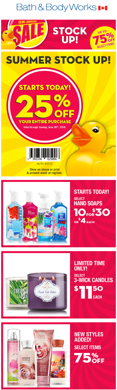 how to get on bath and body works mailing list