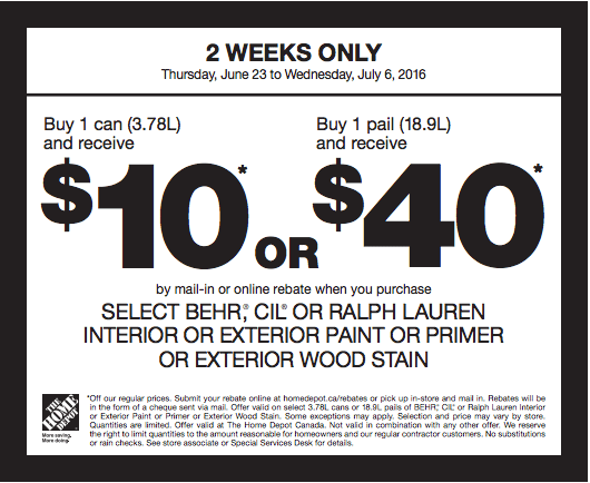 The Home Depot Canada Paint Coupons: Save $10 or $40 By Mail-In or ...