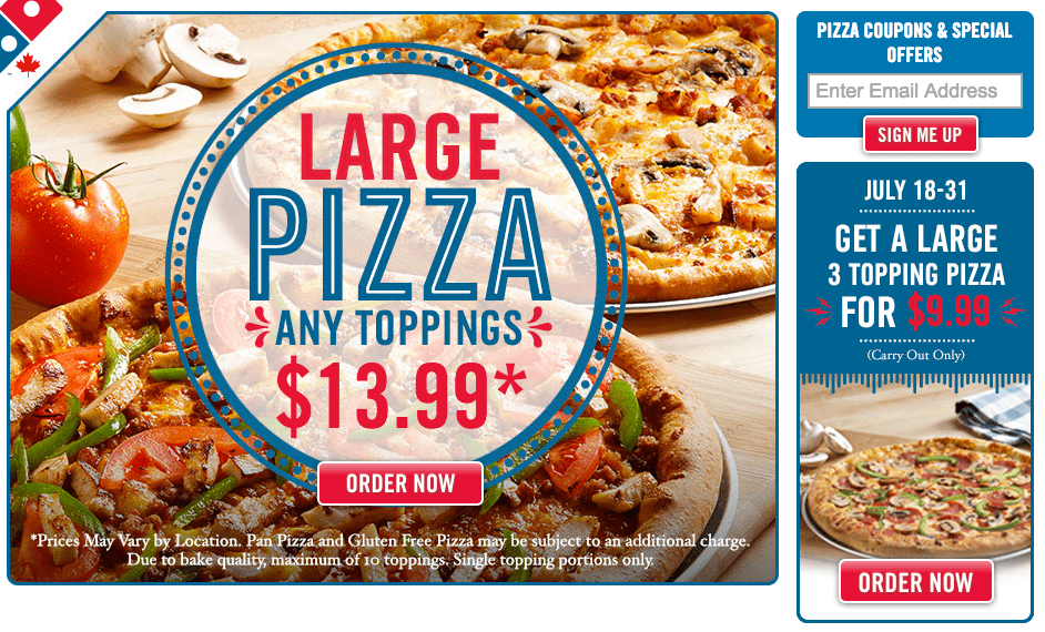 Domino's Pizza Canada Promo Code Offers: Save 50% Off All