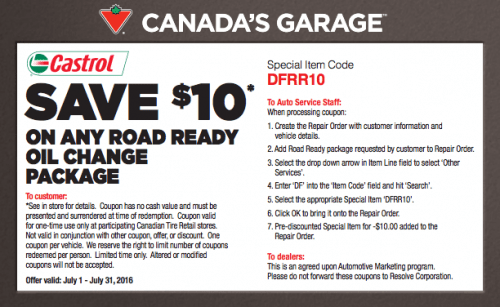 Canadian Tire Garage Deal: Save $10 on Any Road Ready Oil