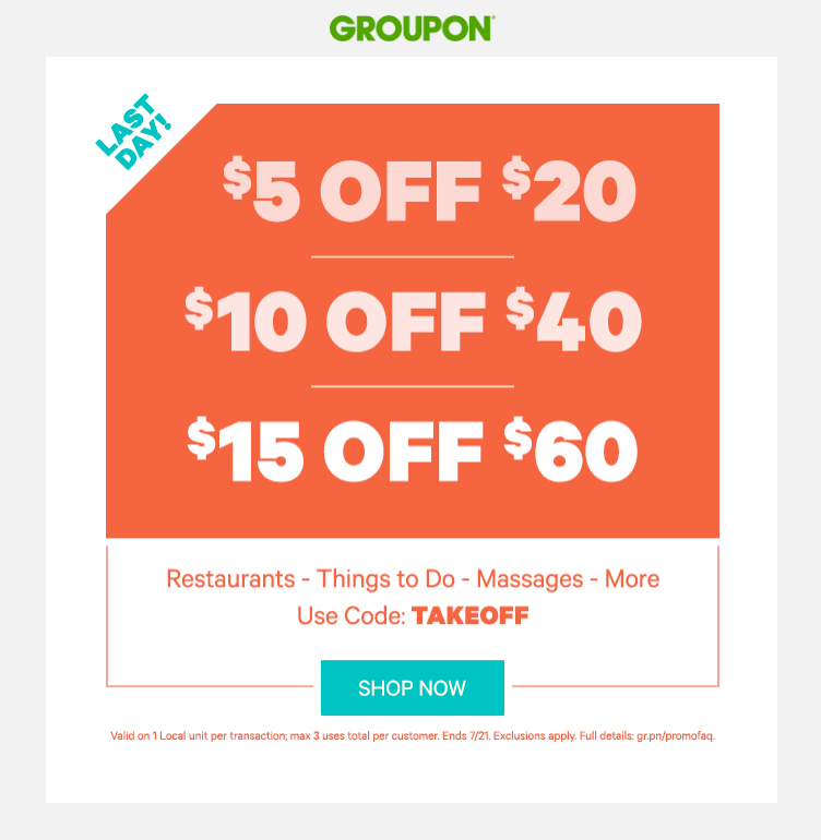 More About Groupon Coupons, Sales & Deals: DealCatcher has been keeping track of Groupon coupons & offers since November During the month of April alone, they offered customers savings up to an additional 40% off local deals and 25% off Getaways.