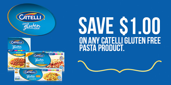 picture relating to Gluten Free Coupons Printable identified as Canadian Discount coupons: Preserve $1 Upon Catelli Gluten Absolutely free Pasta
