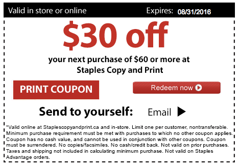 Staples Copy Amp Print Canada Coupon Deal Save 30 Off Orders Of 60 Or More