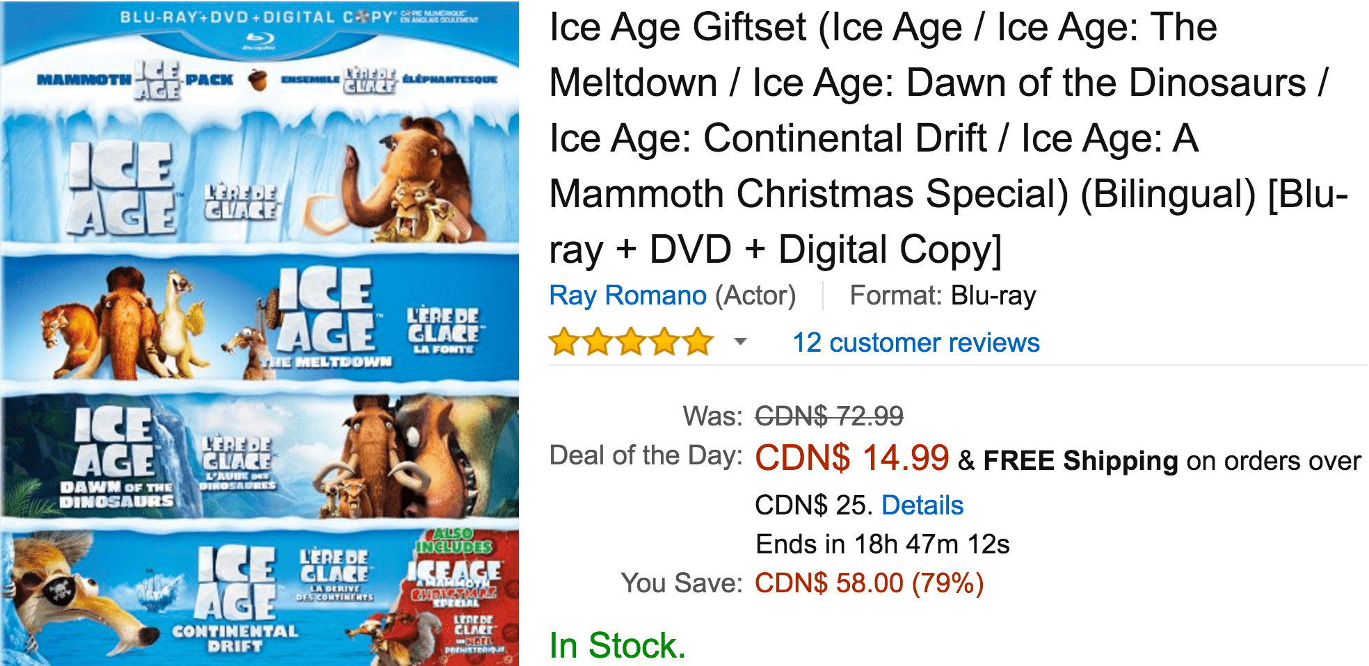 Amazon Canada Deals Of The Day: Save 79% On Ice Age Giftset, 52% On ...