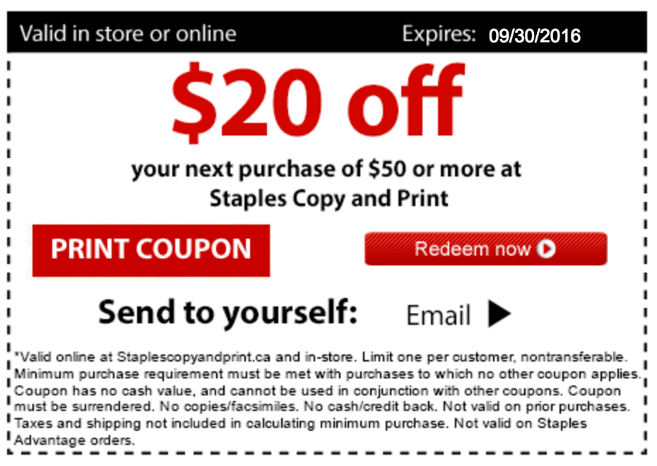 You can even get all your printing needs, breakroom and cleaning supplies, or snag top-rated laptops, tablets or TVs online or in stores. Use today's Staples coupons and in-store offers to save up to 50% off your order online or in-store. How to Use a Staples Coupon Code Online Step-By-Step. Add desired item(s) to the shopping cart.