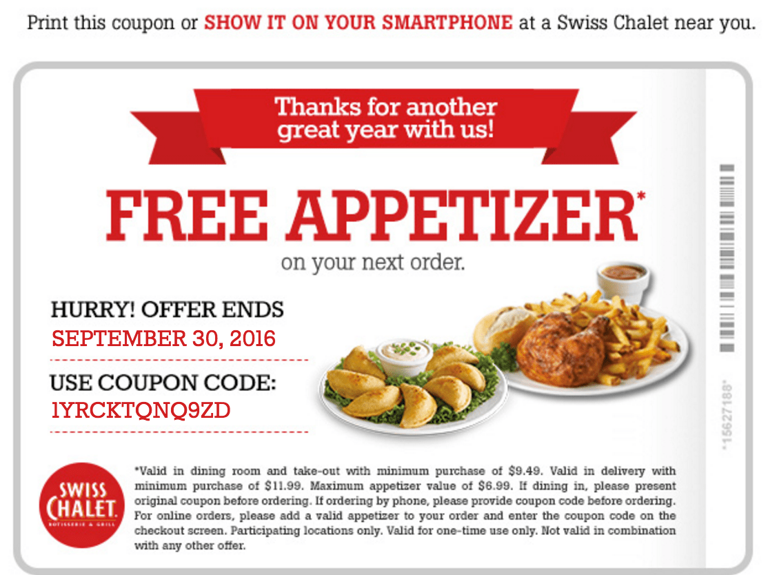 Swiss chalet lunch coupons