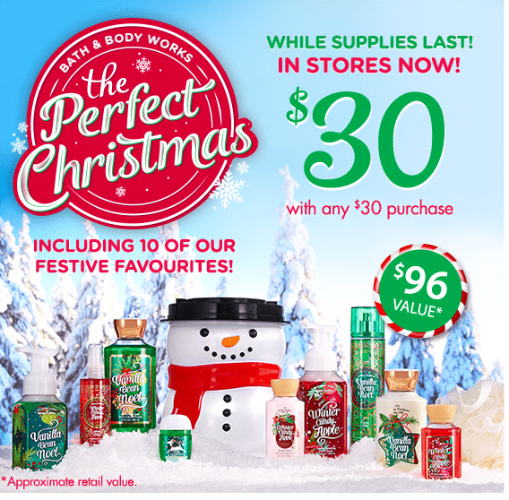 Bath & Body Works Canada Christmas Deals: Save 50% Off Fall Items, Christmas Collection for Just $30 ($96 Value) with $30 Purchase & Buy 3, Get 3 FREE!