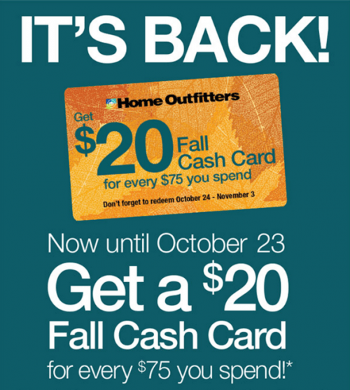 Home Outfitters Canada Fall Cash Card Promotion SmartCanucks.ca