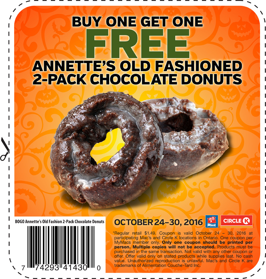 Mac's Convenience Store Ontario Coupons: Buy One Get One FREE Annette's Donuts!