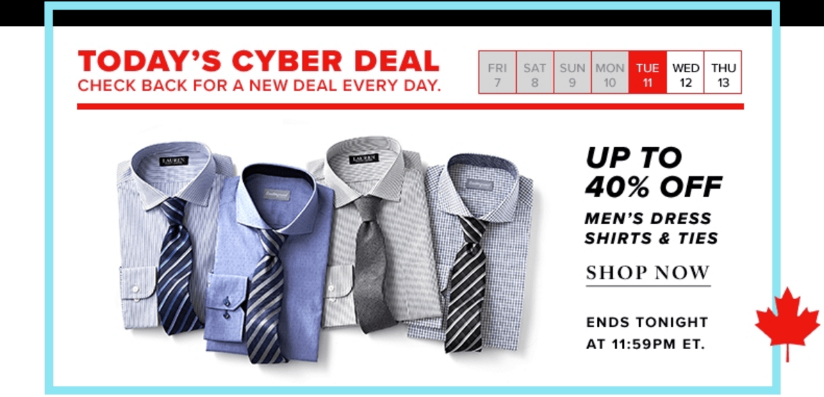 Hudson s bay canada cyber monday sale save 30 to 40 off for Cyber monday deals mens dress shirts