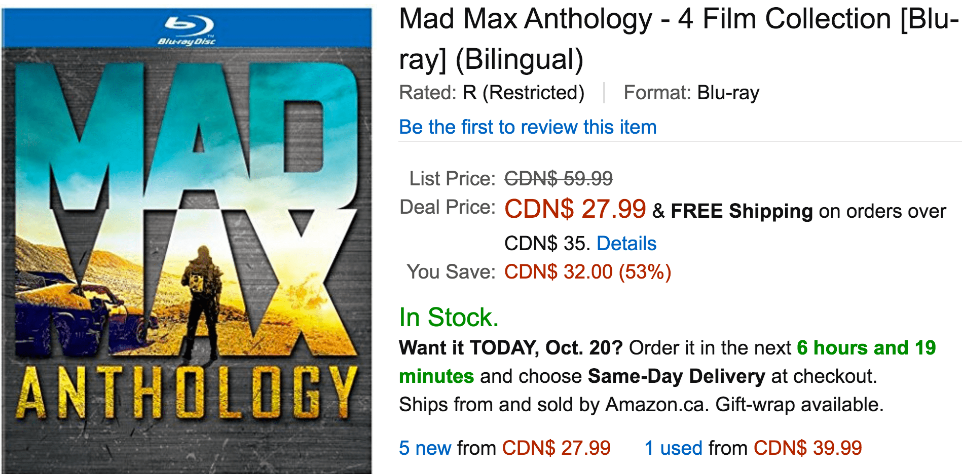 Amazon Canada Deals Of The Day: Save 53% On Mad Max Anthology – 4 Film Collection & More Deals