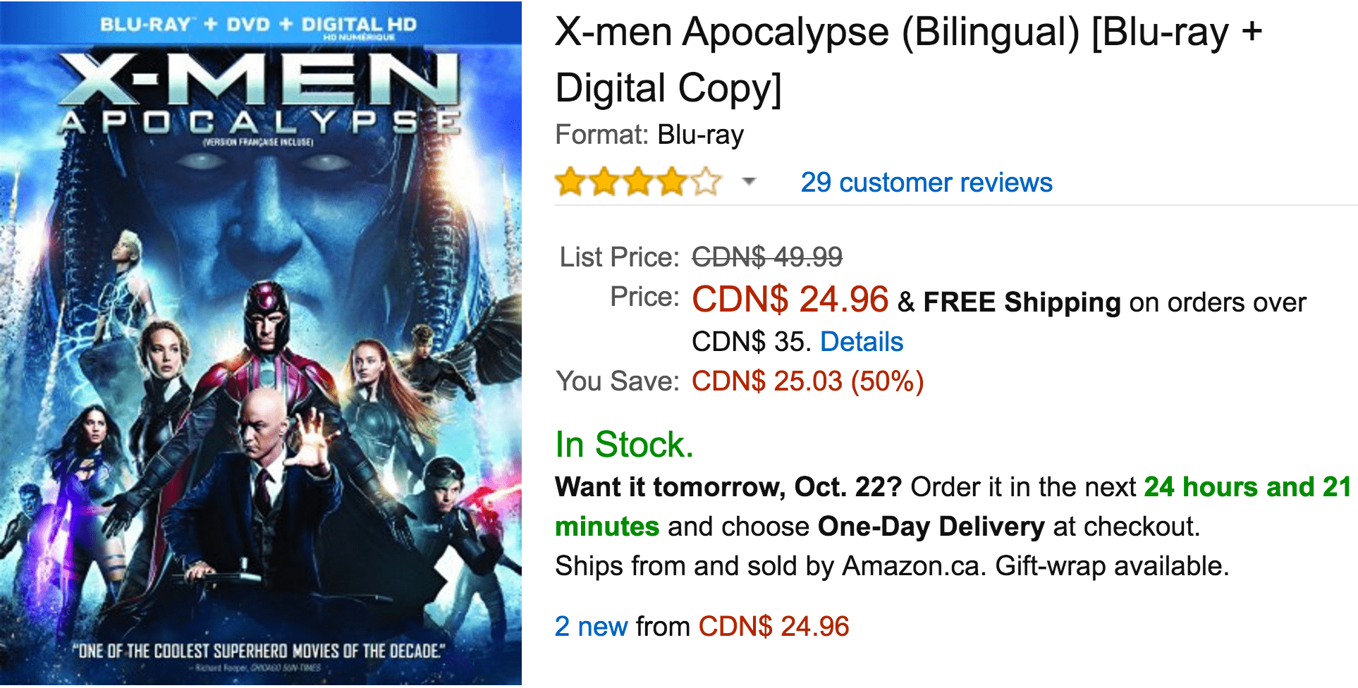 Amazon Canada Deals Of The Day: Save 50% On X-men Apocalypse, 50% On Select Headset, 50% Off Halloween Costumes & More Deals