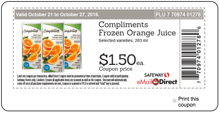 Safeway Sobeys Canada Weekly Coupons: Compliments Frozen Orange Juice, for $1.50 each & More Offers