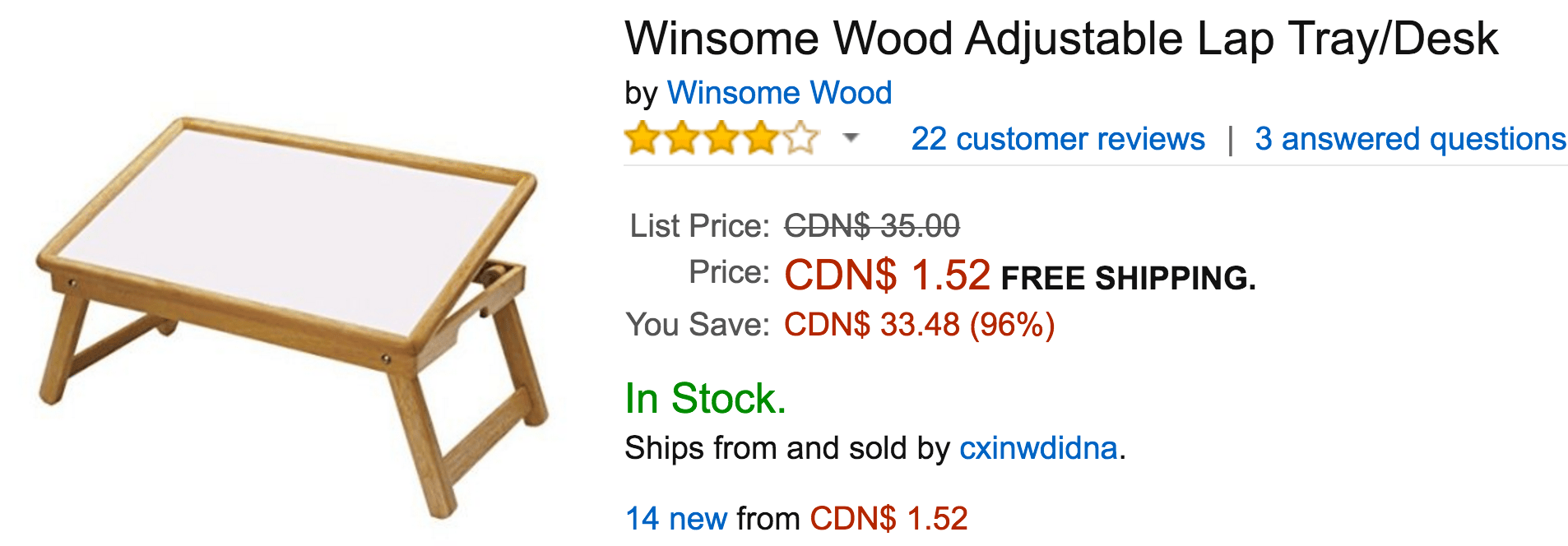 Amazon Canada Deals Of The Day: Save 96% On Winsome Wood Adjustable Lap Tray/Desk, 64% on Fallout 4 – PC & 50% on Little Tikes Deluxe 2-in-1 Cozy Roadster