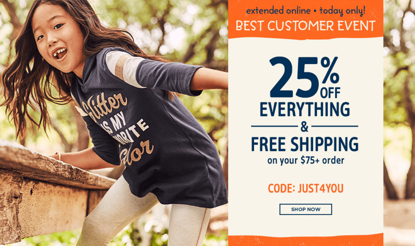 Carter's OshKosh B'gosh Canada Deals: Save 25% Off Everything & Free Shipping on $75 *Extended Today Only*