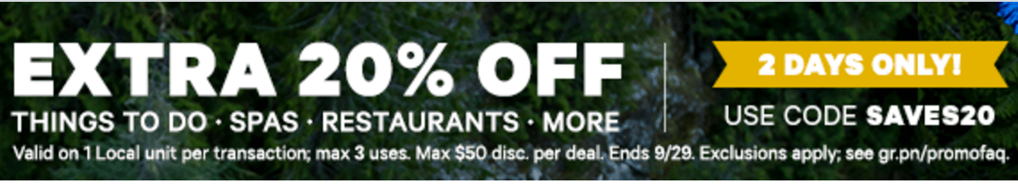 Groupon Canada Deals: Save An Extra 20% For Things to Do, Beauty & Spas, Restaurants & More with Promo Code