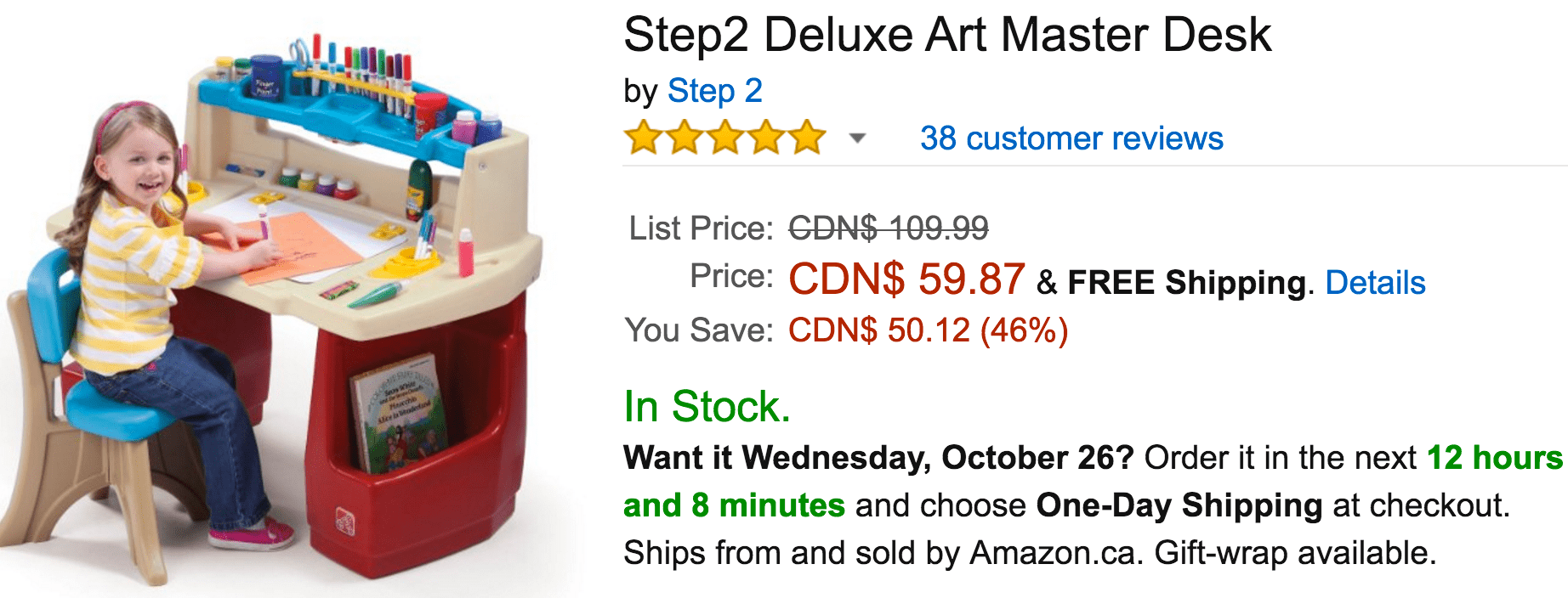 Amazon Canada Deals Of The Day: Save 46% On Step2 Deluxe Art Master Desk, 47% On KidKraft Laundry Playset & More Deals
