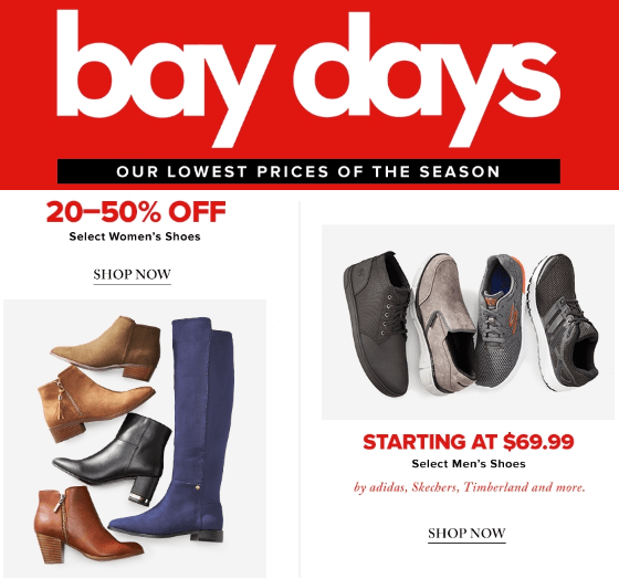 Hudson's Bay Canada Bay Days Offers: Save 20% – 50% Off Women's & Men's Shoes