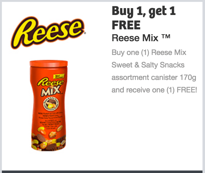 Reese Mix Canada Coupons: Buy One Reese Mix Sweet & Salty Snacks Assortment Canister 170g and Receive One FREE