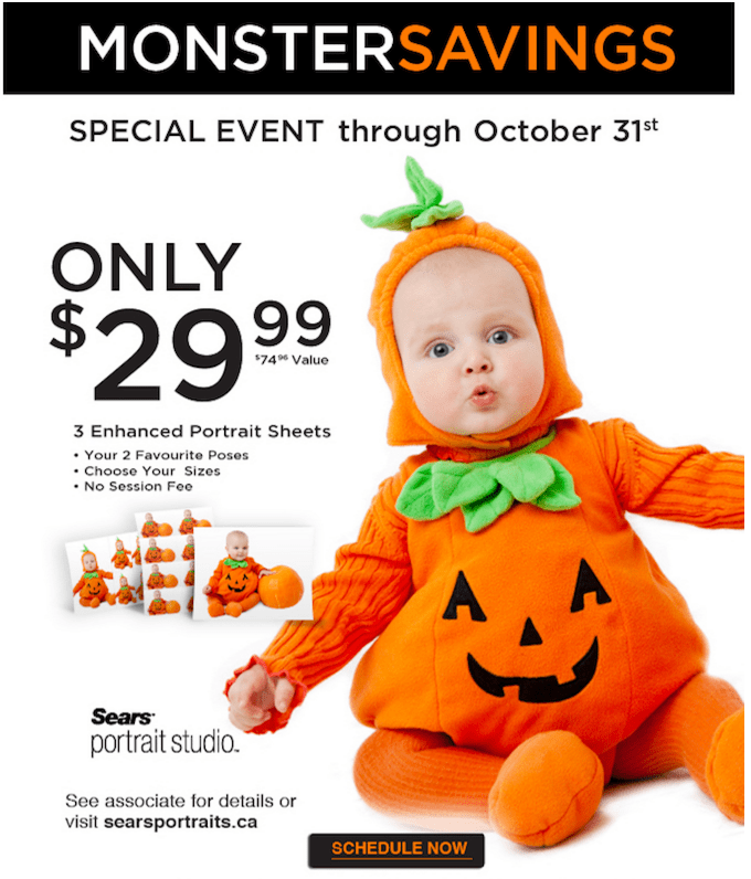 Sears Portrait Studio Canada Deals: Get Halloween Portrait 3 Sheets for $29.99 ($74.99 Value) + 40% Off Canvas Purchase Coupon!