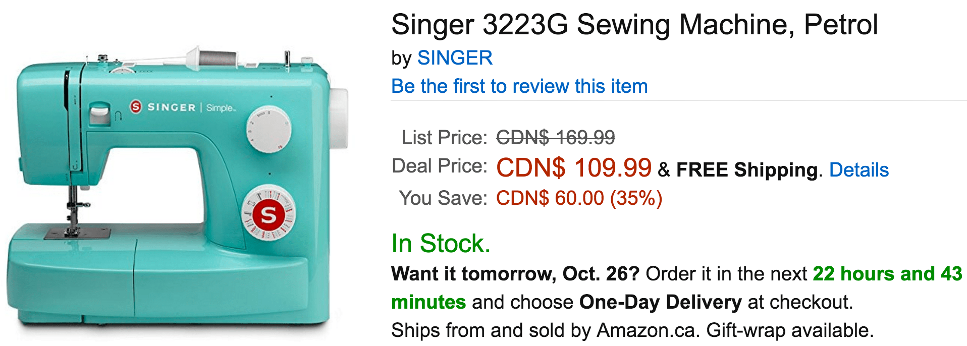 Amazon Canada Deals Of The Day: Save 35% On Singer Sewing Machine Petrol, 37% On LEGO Creator Ocean Explorer Building Kit & More Deals