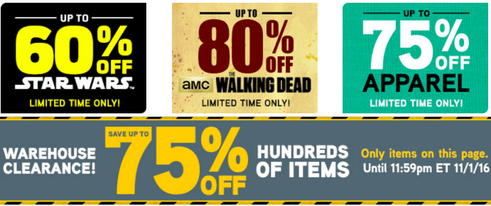 Think Geek Warehouse Canada Clearance Sale: Save 80% On Walking Dead, 75% On Apparel & Warehouse, 60% on Star Wars & More