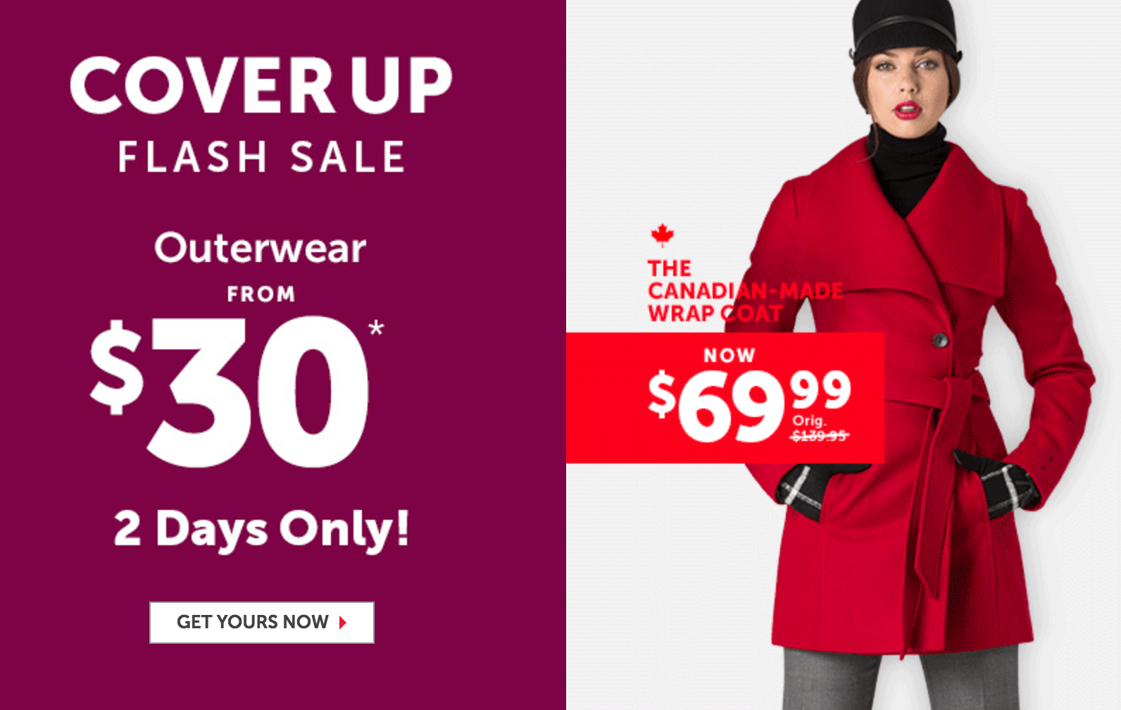 Le Château Canada Outlet Flash Sale: Outerwear Jackets from $30!