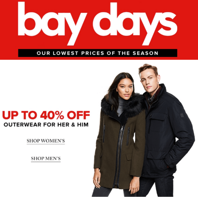Hudson's Bay Canada Bay Days Offers: Save 40% Off Women's & Men's Outerwear & More Offers