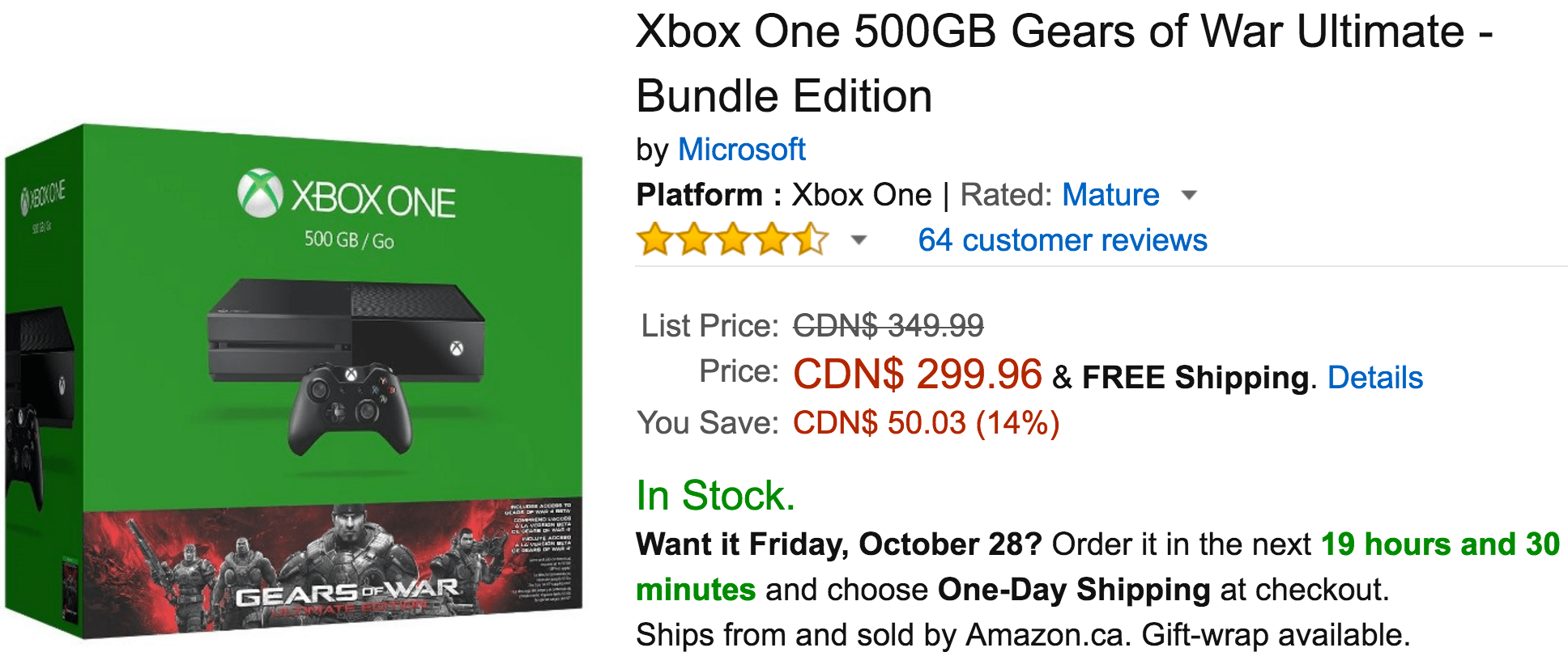 Amazon Canada Deals Of The Day: Save 14% On Xbox One 500GB Gears of War Ultimate – Bundle Edition, 29% On VTech Touch and Learn Activity Desk & More Deals