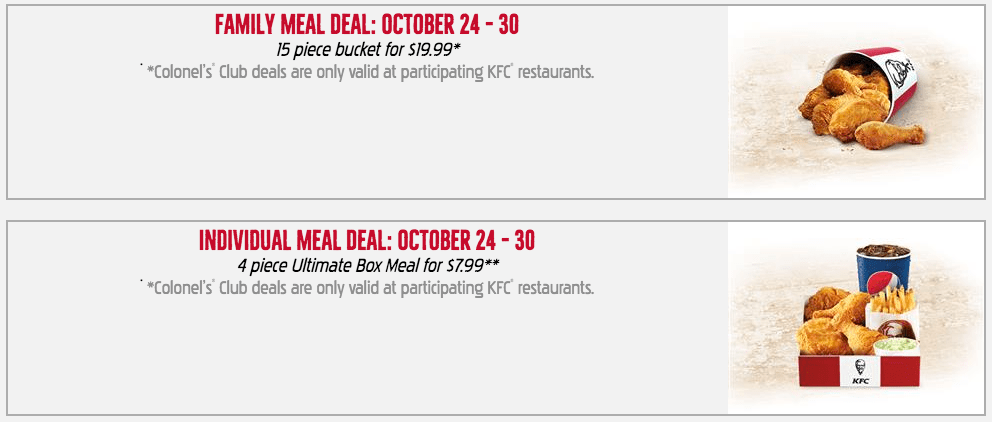 KFC Canada Colonel's Club Weekly Deals: Family Meal Deal – 15 Piece Bucket for $19.99, Individual Meal Deal – 4 piece Ultimate Box Meal for $7.99