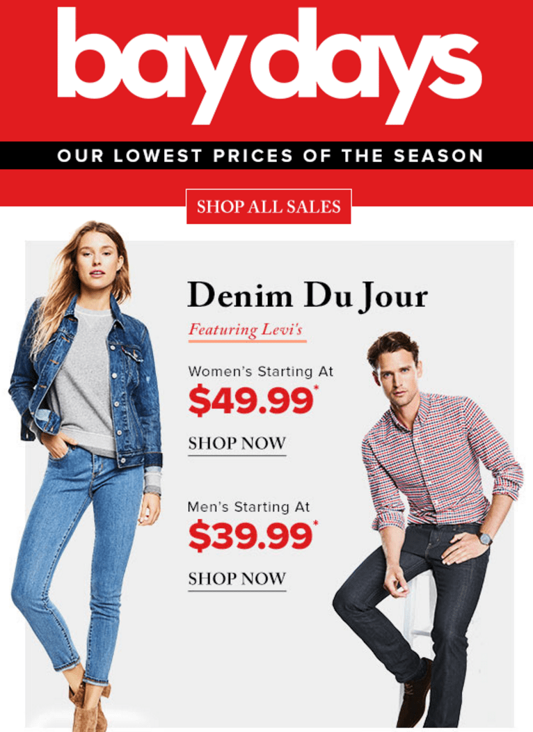 Hudson's Bay Canada Bay Days Offers: Save up to 42% off Denim Du Jour Featuring Levi's for women's & Men's, Save 30% on Nike