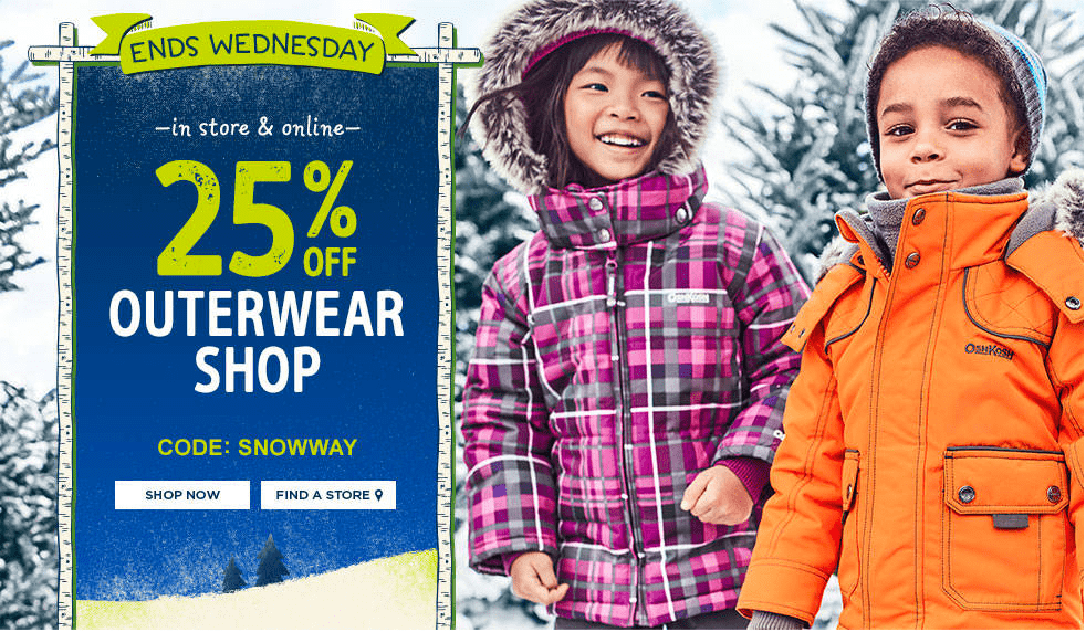 Carter's OshKosh Canada Deals: Save 25% off  Outerwear with Promo Code + $10 Off $50 + FREE Shipping with $75 Purchase