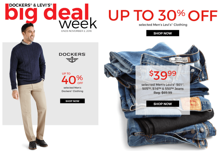 Sears Canada Big Deal Week: Save 40% on Select Dockers, 30% Off Select Levi's Jeans & Extra 10% To 20% off Online