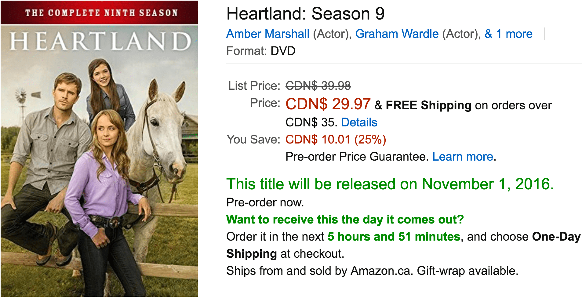 Amazon Canada Deals Of The Day: Save 25% On Heartland: Season 9, 28% Off Singer Sewing Machine & More Deals