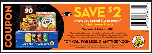 Giant Tiger Canada: Save $2 When You Spend $10 Or More On Halloween Treats *Printable Coupon*