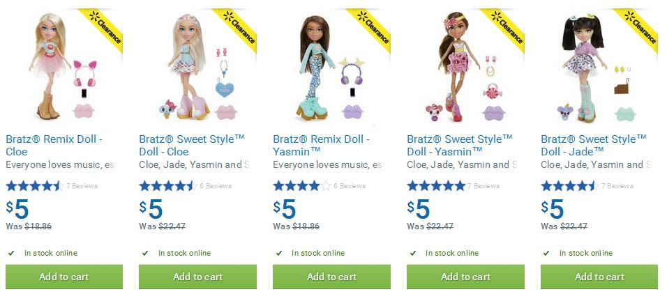 Walmart Canada Clearance Deals: Bratz Dolls $5