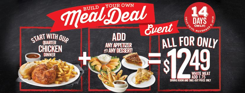 Swiss Chalet Canada Build Your Own Meal Deal: Quarter Chicken Dinner with Any Appetizer or Dessert for Only $12.49