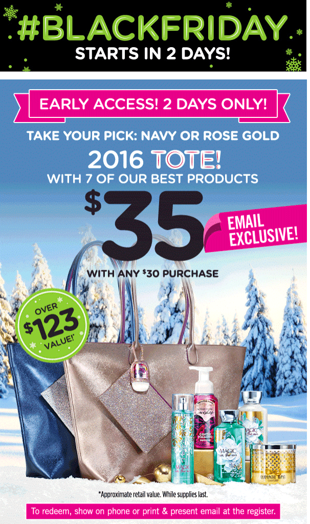 Bath & Body Works Canada Black Friday 2016 Tote Coupon: Just $35 ($123 Value) Tote with any $30 Purchase