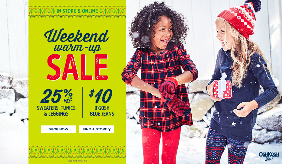 Carter's Osh Kosh Canada Sale: $10 For Jeans + 25% Off  Sweaters, Tunics & Leggings + FREE Shipping on $50 Orders