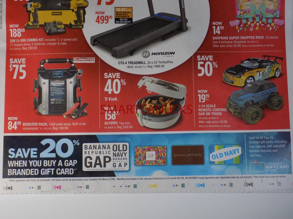 Canadian Tire Black Friday Save 20% on Gap old Navy Gift Cards