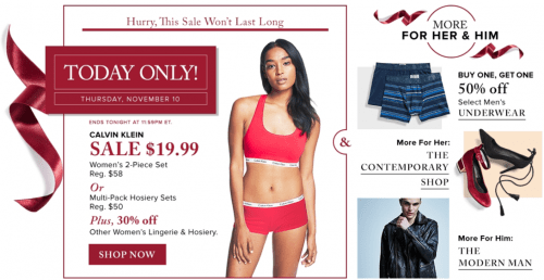 Hudson's Bay Canada Pre Black Friday One Day Sale: Save 66% Off CK Lingerie Set + 30% Off Lingerie & Hosiery + 25% Off Promo Code + More!