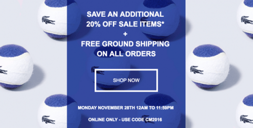 Lacoste Canada Cyber Monday 2016 Sale: Save Extra 20% Off Sale Items + FREE Shipping On Any Order, Today