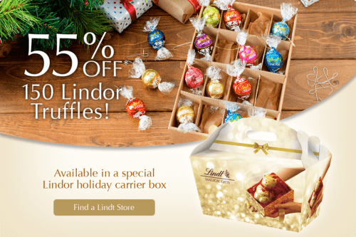Lindt Chocolate Canada Holiday & Christmas Sale: Save 55% Off 150 Lindor Truffles!