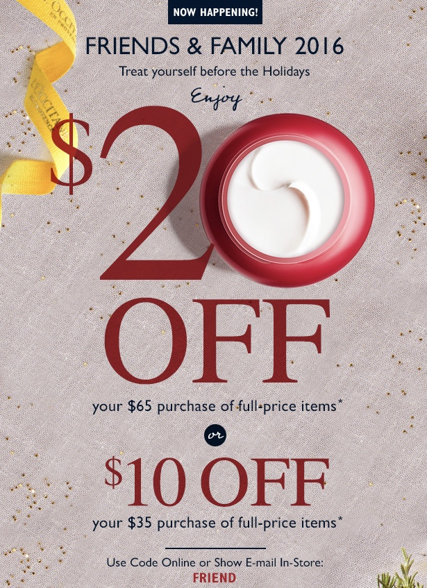 L'Occitane Canada Friends & Family Sale: Save $10 Off $35 and $20 Off $65 Purchase With Promo Code