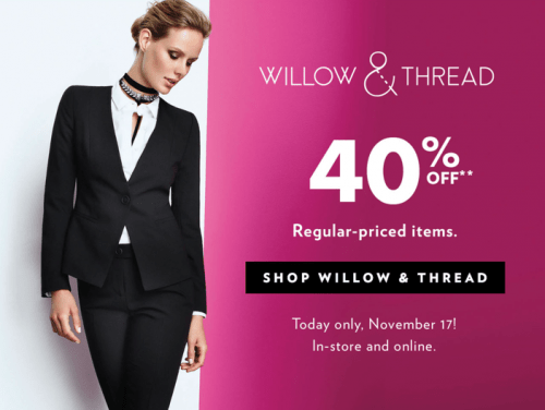 Reitmans Canada Pre Black Friday Flash Sale: Save 40% Off Willow & Thread! Today Only